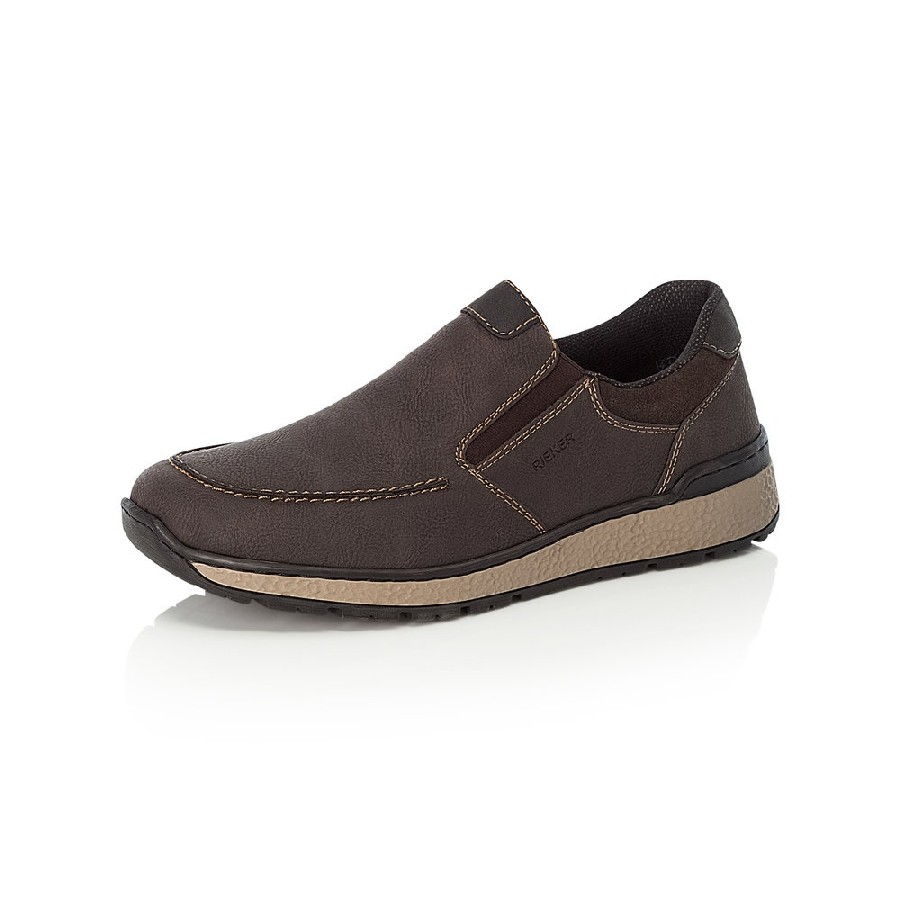 Bruna herrloafer/slip on i syntet från Rieker